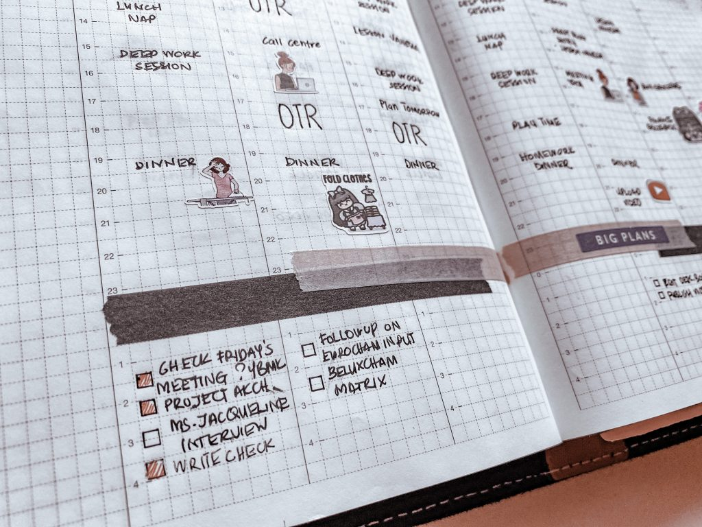 Daily tasks are included in the weekly calendar for functional weekly planning system